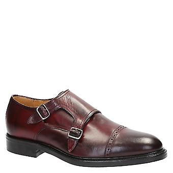 Handmade double monk strap shoes in burgundy leather