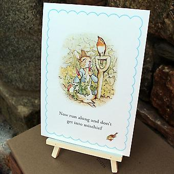Peter Rabbit Now Run Along Sign and Easel - Party Christening Table Decoration