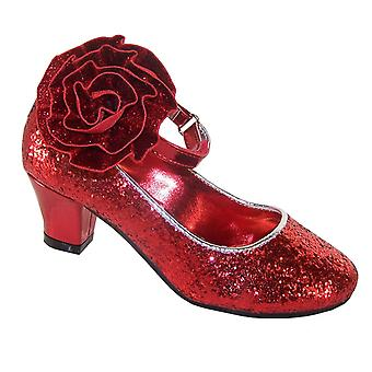 Girls red sparkly low heeled special occasion shoes with FREE BAG