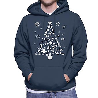 Pokemon Christmas Tree Silhouette White Men's Hooded Sweatshirt