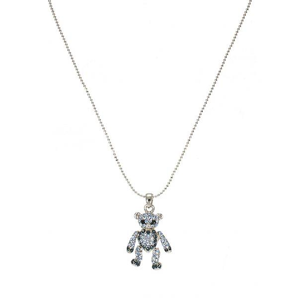 W.A.T Sparkling Crystal Blue Teddy Bear Necklace