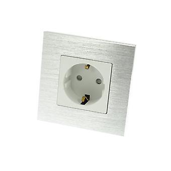 Ich LumoS Luxus Silber gebürstetem Aluminium Rahmen EU Schuko 16A deutschen einzelnen Socket