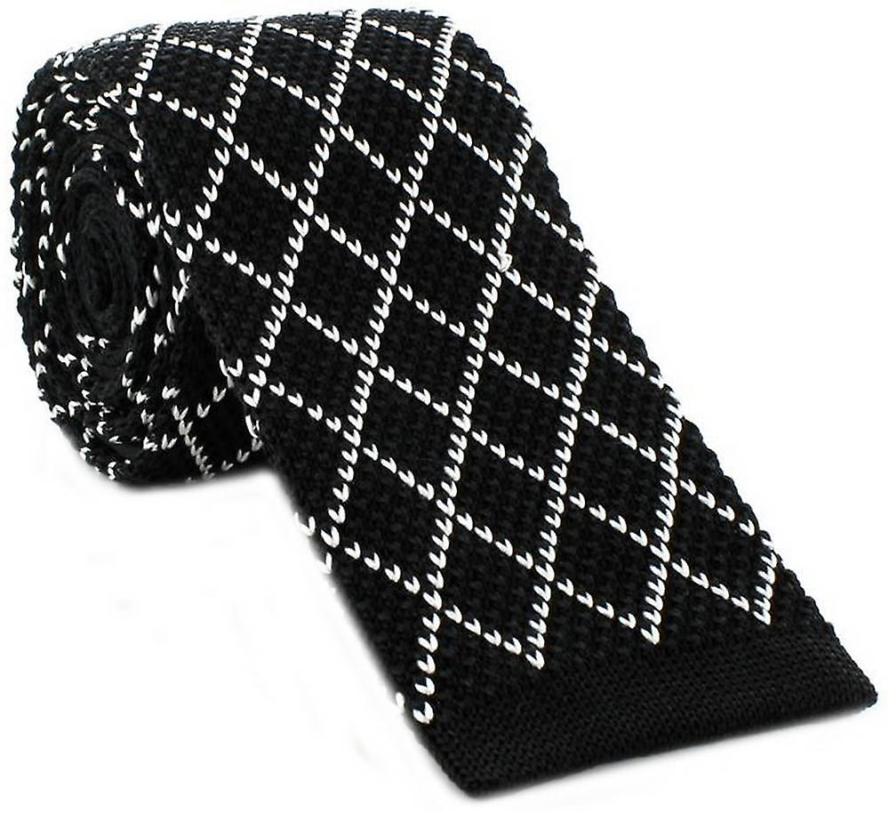 Michelsons of London Diamond Silk Knitted Skinny Tie - Black/White