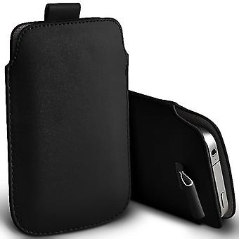 Samsung Galaxy A8 Slip In Pull Tab Faux Leather Pouch Case Cover (Black)