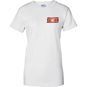 Efecto bandera de Vietnam Grunge país nombre - diseño de pecho de las señoras camiseta
