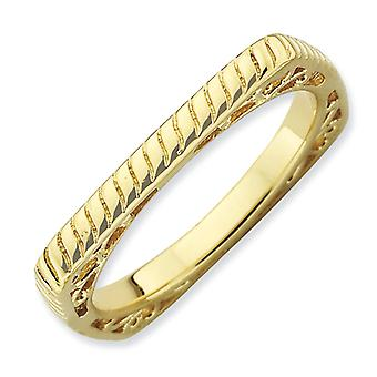 2.25mm Sterling Silver Patterned Stackable Expressions Polished Gold-FlashedSquare Ring - Ring Size: 5 to 9