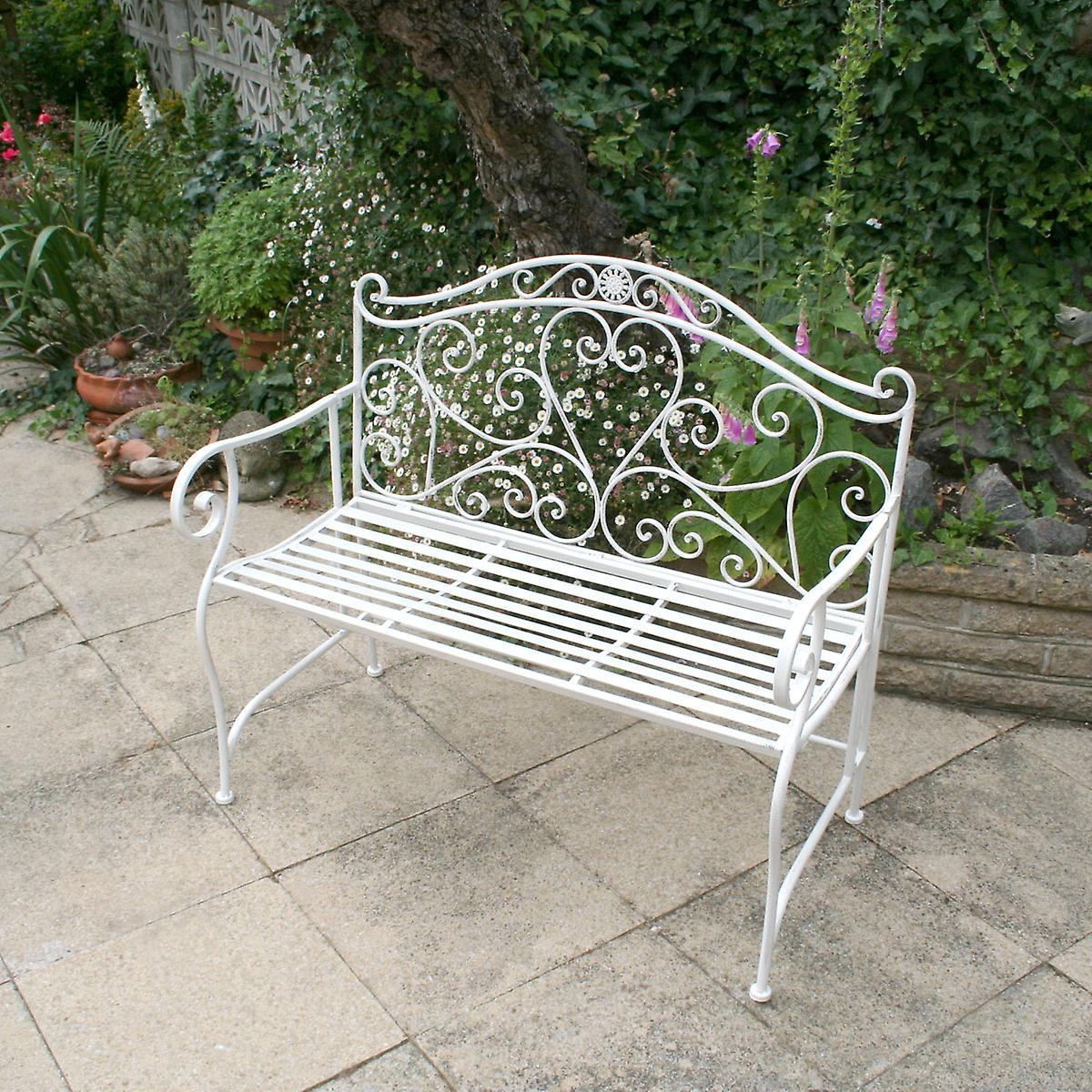 white metal outdoor furniture. Bentley Garden Heart-Shaped 2 Seater Wrought Iron Ornamented Bench Metal Outdoor Seat - Distressed White Furniture