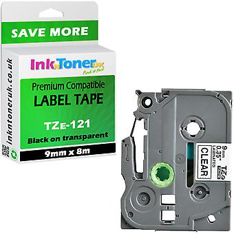 Compatible Brother PT-H101C Label Tape TZe-121 lamin black-trans 9x8