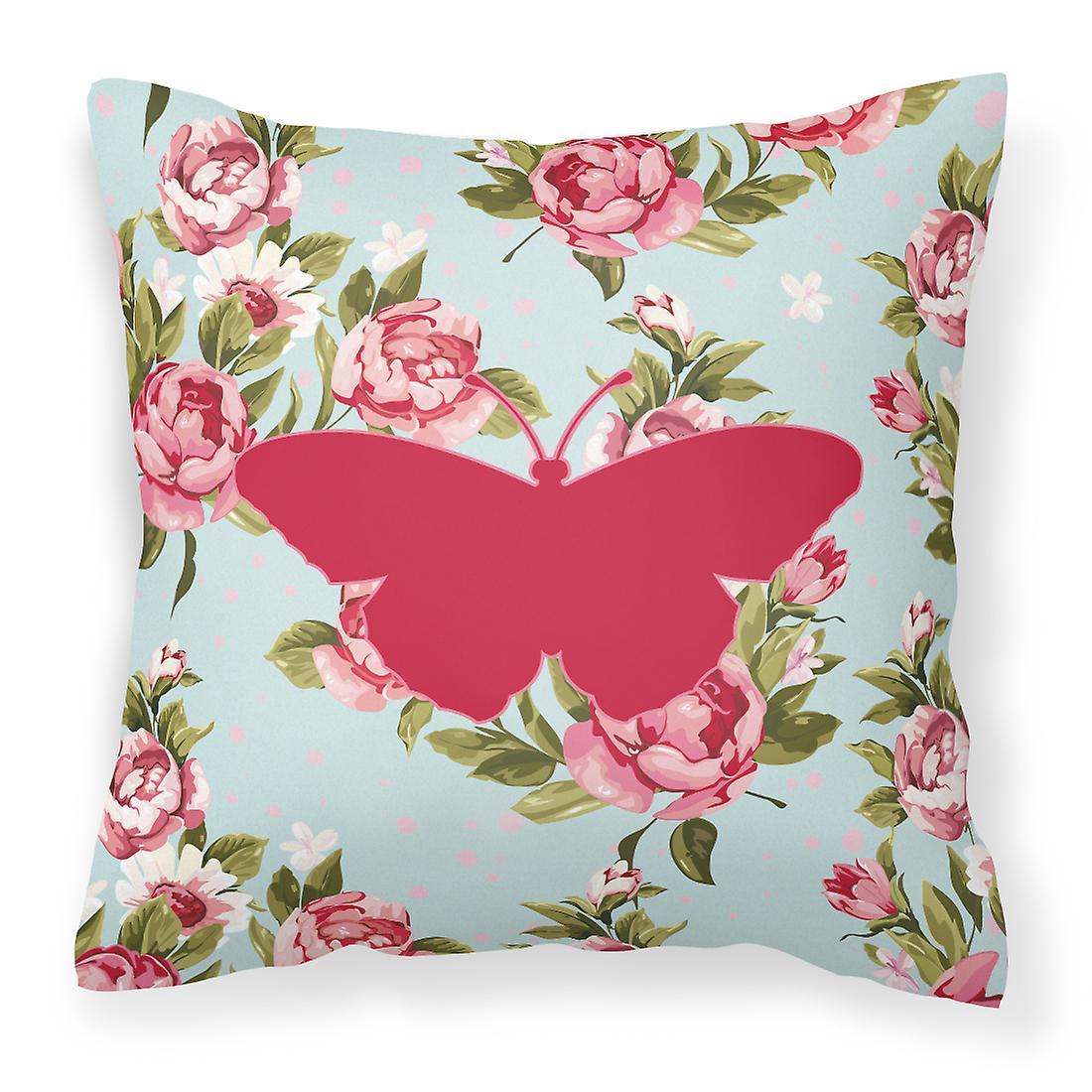 Tissu Toile Roses Papillons Bb1050 Chic Oreiller Bleu Décoratif Minable f7bgvY6y