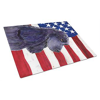 USA American Flag with Cocker Spaniel Glass Cutting Board Large