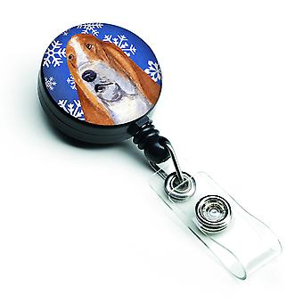Basset Hound Winter Snowflakes Holiday Retractable Badge Reel