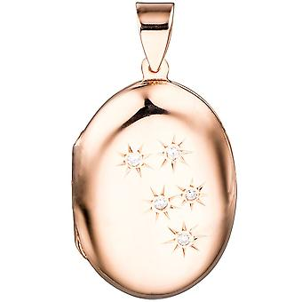 Pendant Locket oval silver red gold gold plated 5 cubic zirconia to open 2 photos