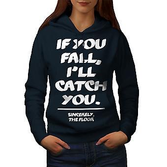 Fall Catch Floor Funny Women NavyHoodie | Wellcoda