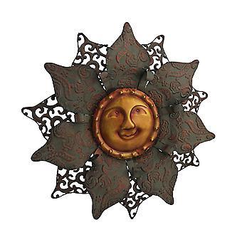 اثنين من لهجة الشمس السماوية زهرة الجدار معدنية النحت
