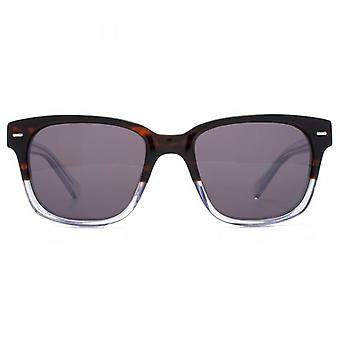 French Connection Premium Retro Rectangle Sunglasses In Tortoiseshell Crystal Clear Gradient