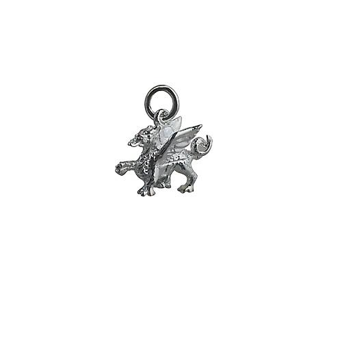 Silver 14x18mm Welsh Dragon Pendant or Charm
