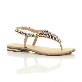 Ajvani womens flat slingback beaded jewelled diamante toe post t-bar sandals