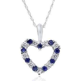 1/2ct Blue Sapphire & Diamond Heart Pendant 14 Karat White Gold
