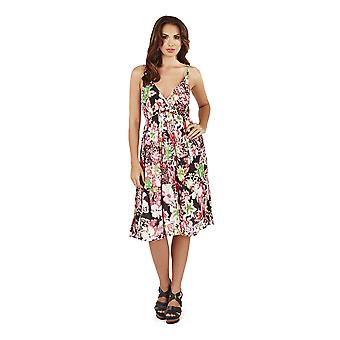 Pistachio, Ladies Cross Front Floral Summer Holiday Dress, Pink, One Size