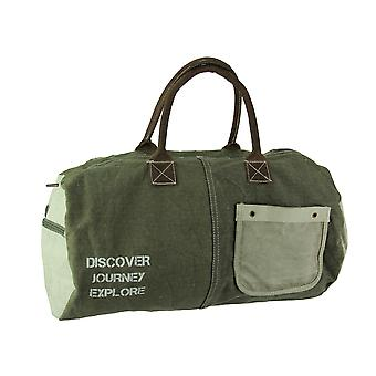 Discover Journey Explore Peace Sign Recycled Canvas Duffel Bag