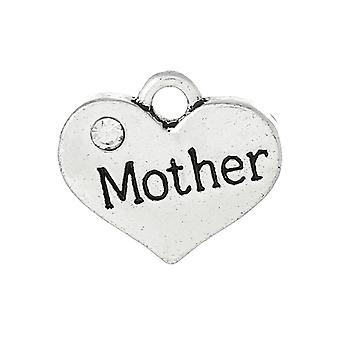 1 x Antique Silver Zinc Rhinestone 18mm Mother Charm/Pendant ZX06845