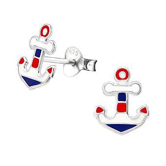 Anchor - 925 Sterling Silver Colourful Ear Studs - W26506x