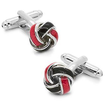 Roten & schwarze Knoten verdreht Manschettenknöpfe Silber Ton Manschettenknöpfe für alle Gelegenheiten