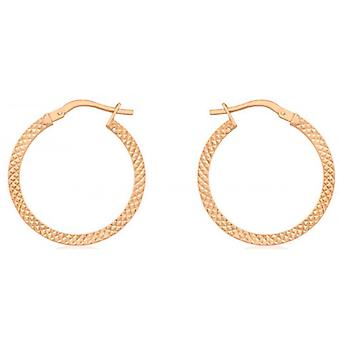 IBB London Cobra Textured Creole Earrings - Rose Gold