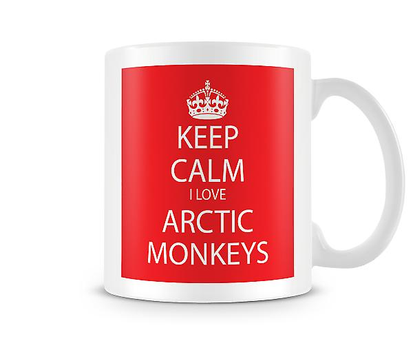 Bleib 'ruhig Ich liebe Arctic Monkeys Printed Tasse