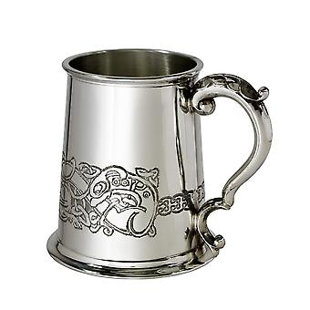 Celtic Dragon Embossed Pewter Tankard - 1 pint