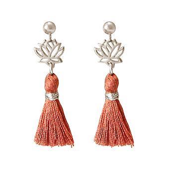 Gemshine - ladies - tassel earrings - earrings - 925 Silver - Lotus flower - red - brown - YOGA - 4 cm