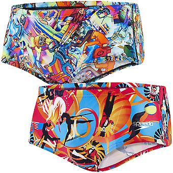 Speedo Flipturns Boys Kids Swimming Swim Allover Digital Trunks Briefs