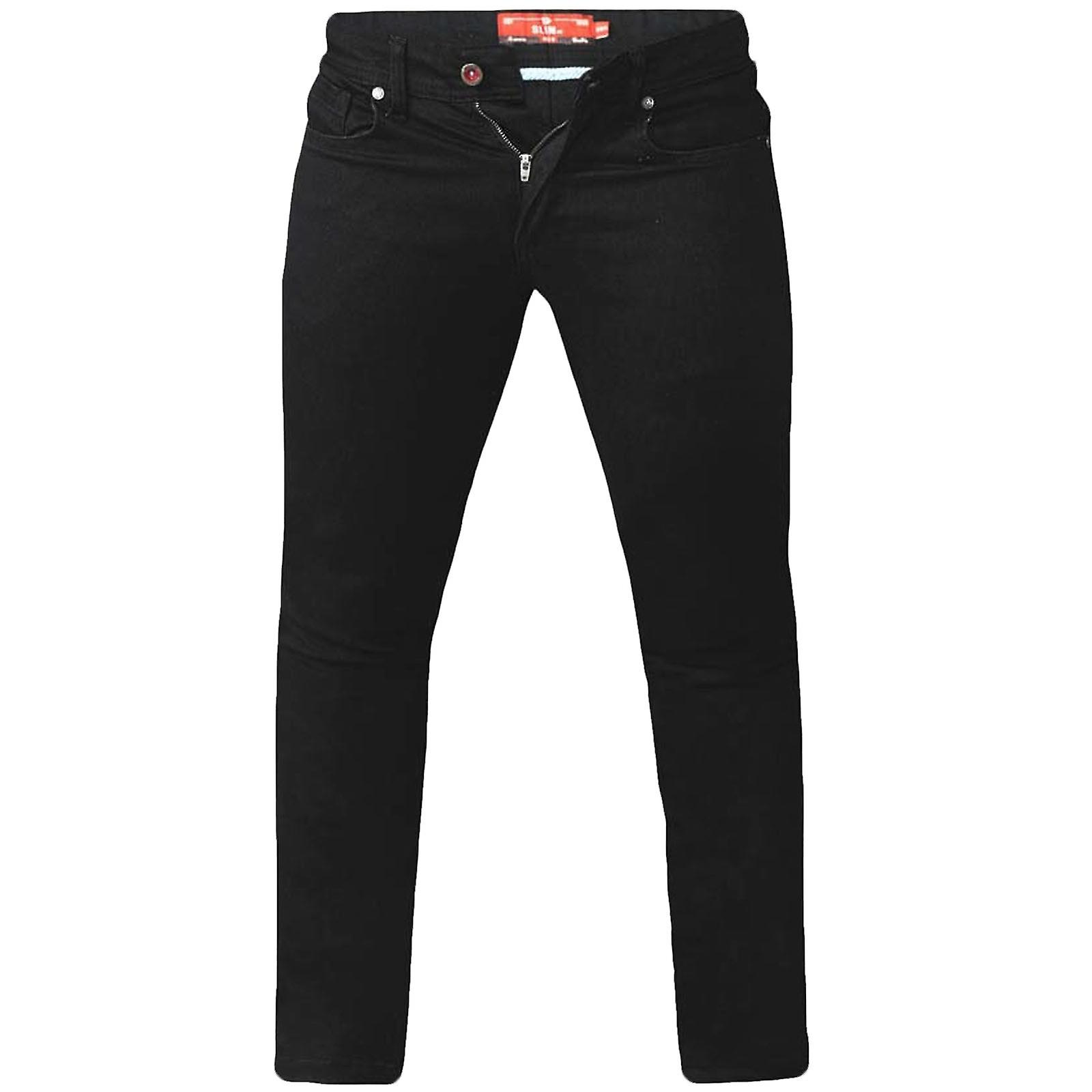 D555 Mens Claude Big Tall King Size Slim Fit Stretch Jeans Trousers - Black