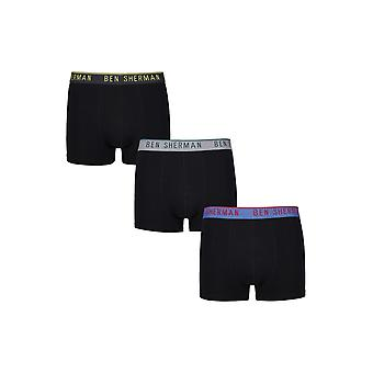 Ben Sherman underkläder mäns 3-Pack Boxer Trunk Shorts svart grå träkol Yorick