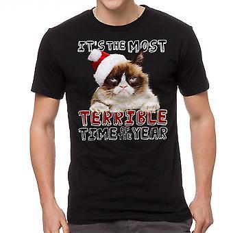 Negro gracioso camiseta gato gruñón terribles hombres