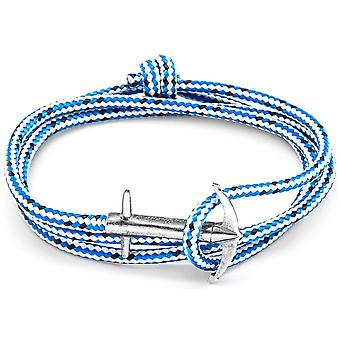 Anchor and Crew Admiral Silver and Rope Bracelet - Blue Dash