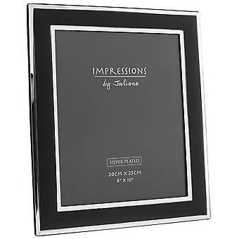 Juliana Impressions Silver Plated Photo Frame 8x10 - Black/Silver