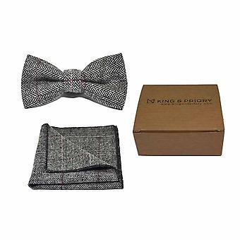 Luxury Herringbone Pewter Grey Bow Tie & Pocket Square Set - Tweed, Plaid Country Look | Boxed