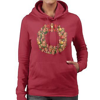 Christmas Wreath Multi Mike Tyson Women's Hooded Sweatshirt