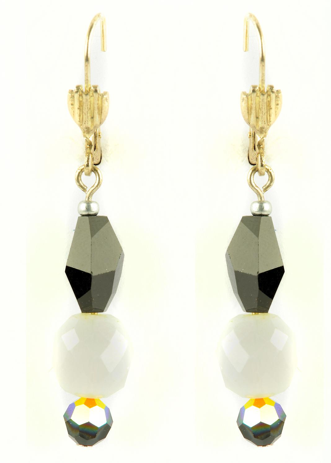 Waooh - Fashion Jewellery - WJ0815 - On Earrings with Swarovski Black & White - Frame Color Silver