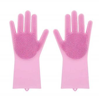 Durable dishwashing gloves of Silicone-Pink