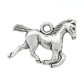 Pakket 10 x antieke zilveren Tibetaanse 19mm paard hangertje/ZX11715