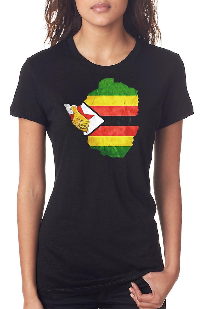 Simbabwe-Flag Karte Damen T Shirt
