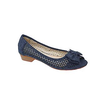 FLC043 Kane Ladies Perforated Peep Toe Bow Low Heel Breathable Pumps Shoes