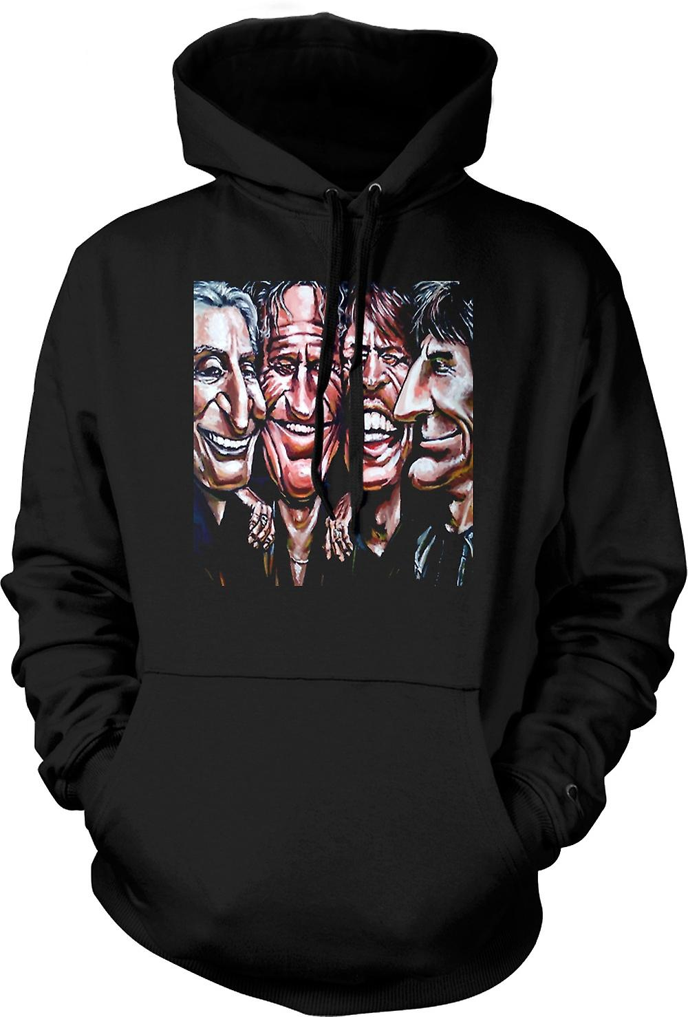 Mens Hoodie - Rolling Stones - Cartoon - Band