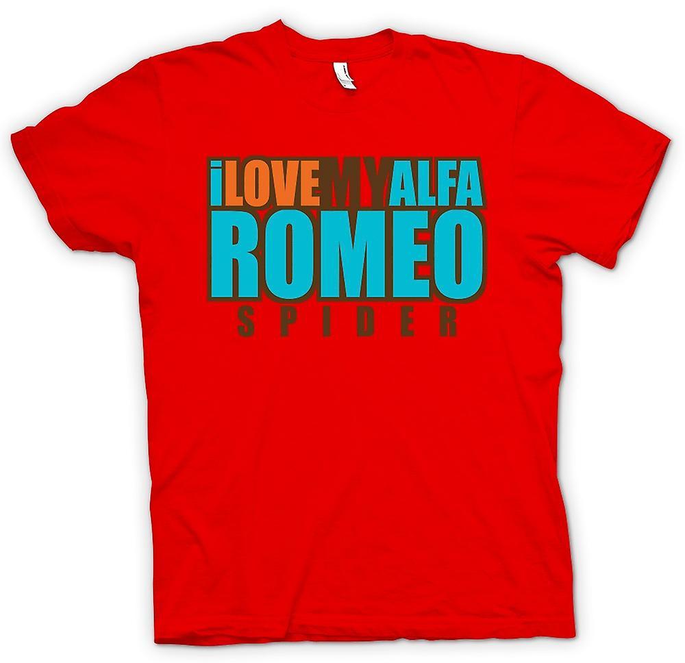 Herr T-shirt - jag älskar min Alfa Romeo Spider - bil entusiast