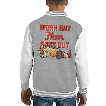 Werk Out dan pas uit de sportschool Goer Pixel Art Kid's Varsity Jacket