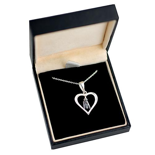 Silver 18x18mm initial M in a heart Pendant with a rolo Chain 14 inches Only Suitable for Children