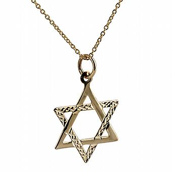 9ct Gold 21x17mm diamond cut Star of David Pendant with a cable Chain 20 inches