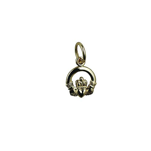 9ct Gold 8x6mm Claddagh Pendant